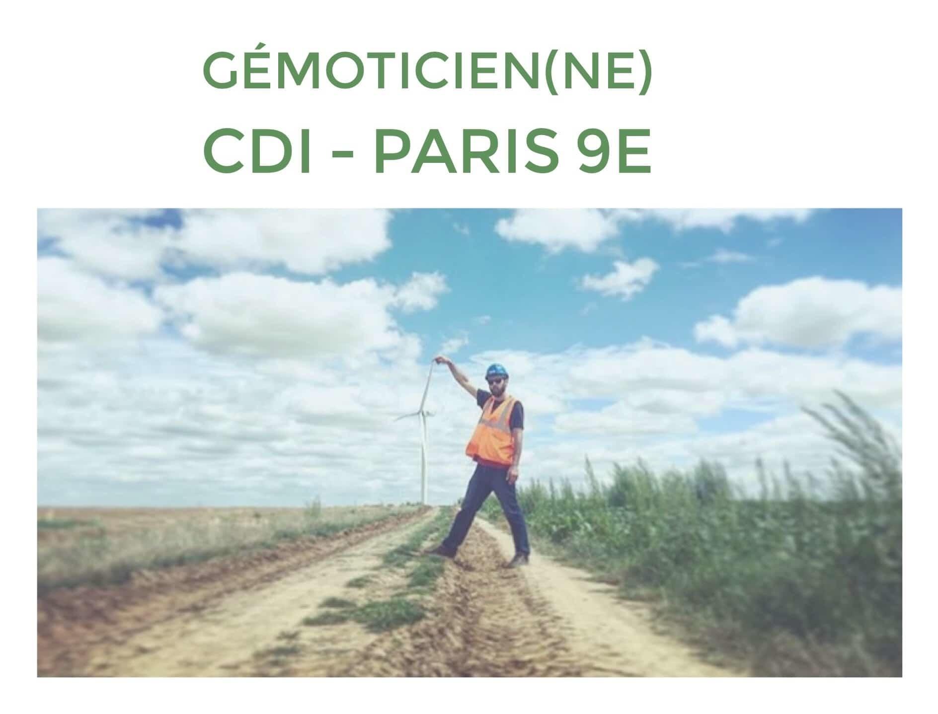 [JOB] CDI – GEOMATICIEN (NE) H/F (CDI) – Paris 9ème