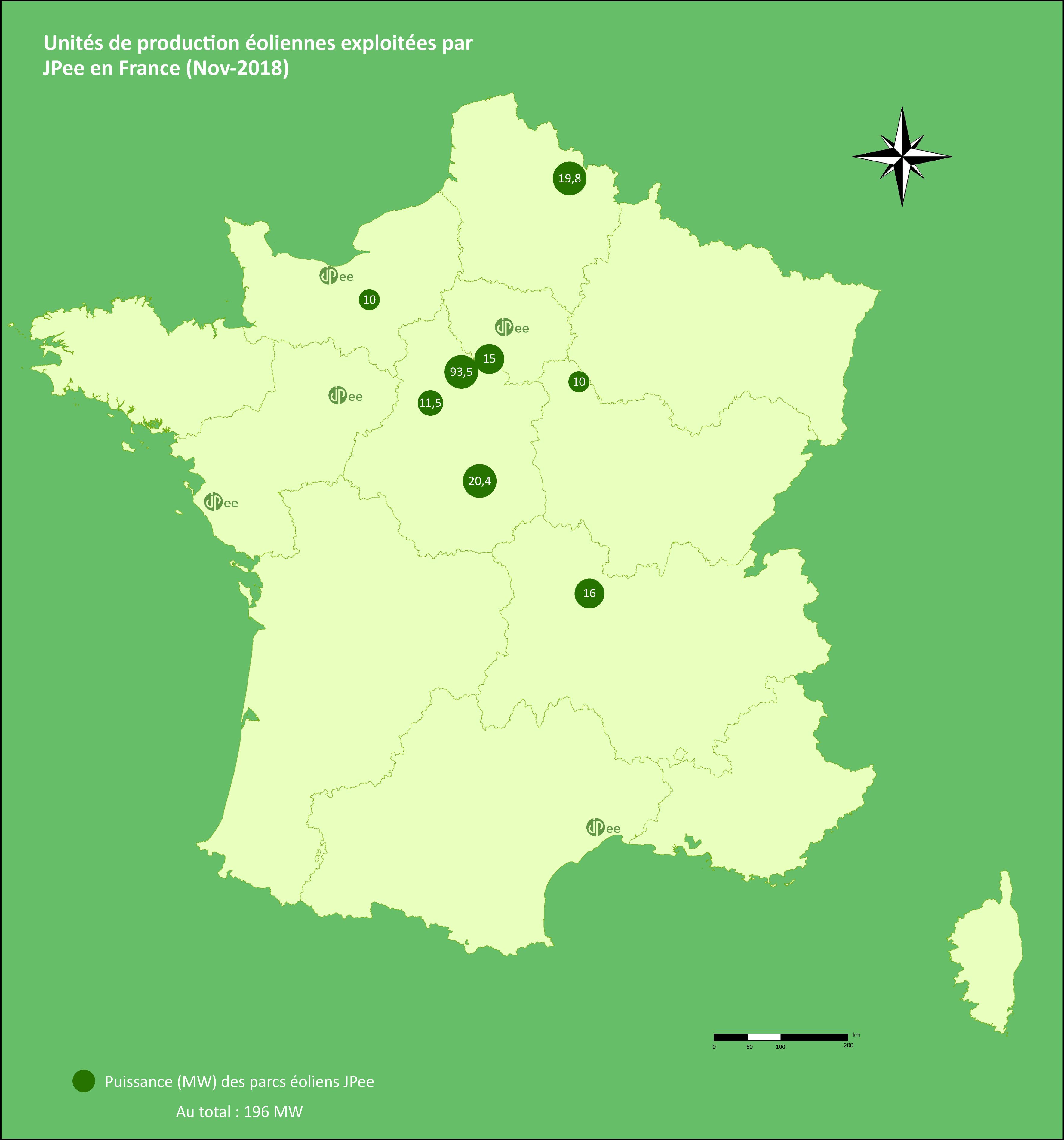 Carte de puissance éolienne